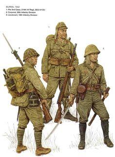 Esercito Imperiale Nipponico -  Burma 1942 - 1 Soldato di 2a classe, 214mo Rgmt., 33a DIvisione di Fanteria - 2 Caporale, 55a Divisione Fanteria - 3 Tenente, 18a Divisione Fanteria