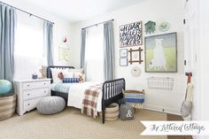 love this jenny lind bed in navy for a boy!