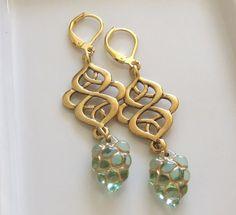 Peridot Glass Grapes with Art Nouveau Gold Swirl by beadishdelight, £13.00
