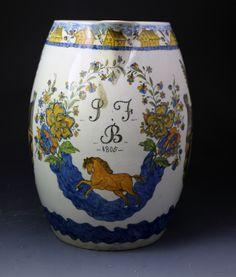 Massive antique prattware jug, England 19th Cent.