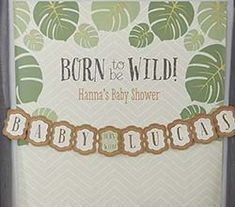 Decorations - Personalized Photo Backdrop--Born To Be Wild Baby Shower Decor by Kate Aspen (($))