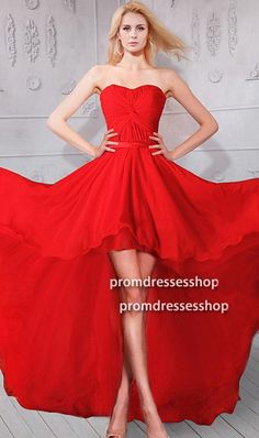 Flowing Strapless High Low Red Chiffon Party Prom Dress#reddress#highlowdress#promdress Prom Dresses For Sale, Prom Party Dresses, Bridesmaid Dresses, Formal Dresses, High Low Chiffon Dress, Red Chiffon, Prom Dreses, Formal Prom, Ball Gowns