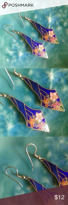 80's Blue & golden floral cloisonné hook earrings From the 80's!  Dark blue, gold, and orange cloisonné flower earrings. Approximately two inches long. See photo for size compared to a quarter. Fish hook style. Jewelry Earrings