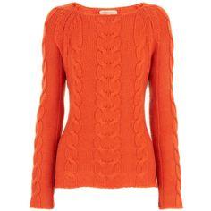 Stephan Boya Orange Pullover Cable Sweater