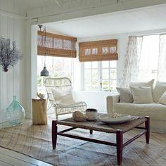 Weiß Küsten-Wohnzimmer Wohnideen Living Ideas Interiors Decoration