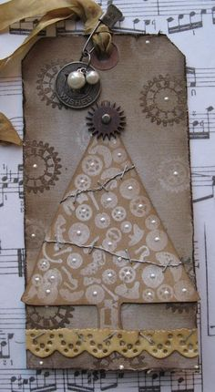 Grungy Tag...using steampunk Christmas stamps.