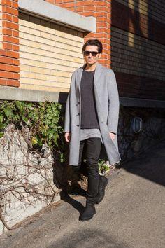 sunglasses / nenads own coat / acne studios jumper / filippa k shirt / thom krom jeans / acne studios boots / officine creative