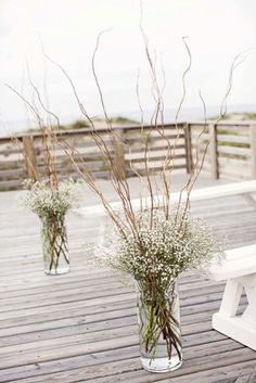 Wedding Flowers cheap wedding decorations flowers gypsophila in tall vases with wooden branches kristi midgette photography - Elegant doesn't mean expensive. You can make unique and cheap wedding decorations. See our gallery and make sure it is easy! Chic Wedding, Wedding Table, Fall Wedding, Wedding Ceremony, Wedding Ideas, Trendy Wedding, Wedding Bride, Wedding Hacks, Wedding Planning
