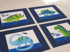 Items similar to Dinosaur wall art decor dino kids boys prints blue green set of four matted to on Etsy Dino Kids, Kids Boys, Nursery Themes, Themed Nursery, Dinosaur Nursery, Wall Art Decor, Little Ones, Blue Green, Boy Rooms