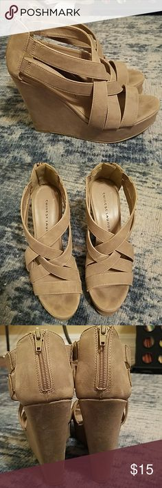 Chinese Laundry strappy wedges Tan suede texture Chinese Laundry wedges. In used condition with wear as shown. Chinese Laundry Shoes Wedges