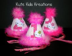 CUTE KITTY BIRTHDAY Hat Hello Kitty Appliqued by kutekidskreations, $22.00