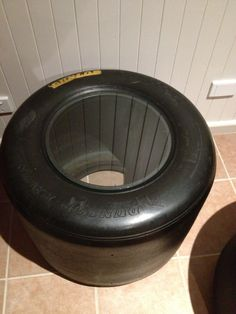 """Racing car tyres {slicks} made into coffee table for my husbands """"Man Cave"""""""