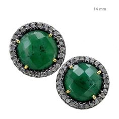 4.54Ct Emerald Gemstone Vintage Look Round Stud Earrings Silver 14K Gold Jewelry #raj_jewels
