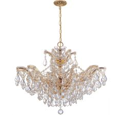 Crystorama 4439-GD-CL-MWP Maria Theresa 6-Light Hand Cut Crystal Chandelier in Ceiling Lights, Chandeliers, Crystal Chandeliers: LightsOnline.com