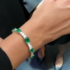 """54 Likes, 2 Comments - Simran Shroff (@sapphiresarepink) on Instagram: """"Make others #greenwithenvy with this classic and elegant Emerald and Diamond bracelet from…"""""""