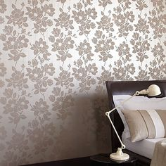 Kelly Hoppen Gold/taupe Rose wallpaper- at Debenhams Mobile Discount Wallpaper, Cheap Wallpaper, Damask Wallpaper, Rose Wallpaper, Designer Wallpaper, Kelly Hoppen Wallpaper, Taupe Bedroom, Master Bedroom, Floral Wall