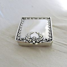 Sterling Silver Stamp Pill Box Gold Wash by SilverFoxAntiques, $95.00