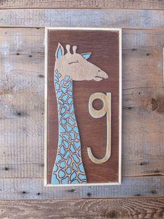 """G"" is for Giraffe - custom initial salvage wood wall hangings Salvaged Wood, Wall Hangings, Wood Wall, Giraffe, Initials, Design, Felt Giraffe, Recycled Wood, Wood Walls"