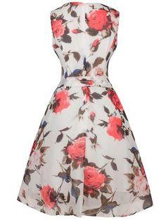 Retro Style Floral Print Belted Dress LAVELIQ