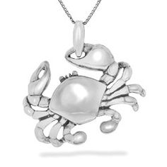 White Gold Crab Pendant (Chain Included) - Sea Life Jewelry - Shop