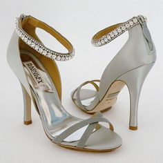 Badgley Mischka Decadence Silver  we ❤ this!  moncheribridals.com  #weddingshoes   #bridalshoes