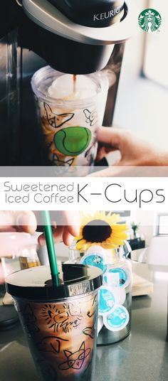 Starbucks Iced K-Cups come sweetened, so all you need to make iced coffee at home is a pod, a cup of ice, and your choice of milk.
