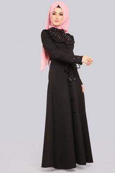 ELBİSE Fırfır Detay İncili Elbise ELF3526 Siyah