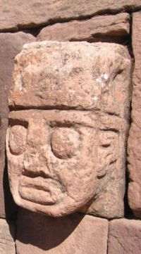 Carved stone tenon-head embedded in the wall of a semi-subterranean temple.Tiwanaku (Spanish: Tiahuanaco ) a Pre-Columbian archaeological site in western Bolivia was the capital of an empire that extended into present-day Peru and Chile, flourishing from AD 300 to 1000.