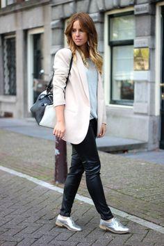 25 Ways to Wear Metallic Flats - soft pink blazer, leather pants + metallic oxford shoes | StyleCaster