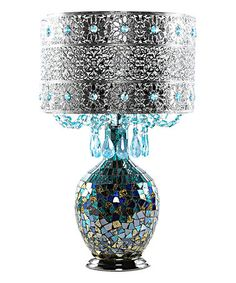 Another great find on #zulily! Blue Mattei Crystal & Mosaic Table Lamp & Metal Shade #zulilyfinds