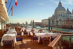 Chef Daniele Turco serves Venetian cuisine at the elegant restaurant located in the historic Gritti Palace, a Luxury Collection hotel. The ornate dining room overlooks the Grand Canal and was decorated by designer Chuck Chewning during the hotel's recent renovation. The terrace, open from May to October, offers a particularly memorable dining experience. clubdeldoge.com