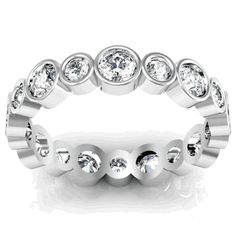 Alternating Bezel Set Scalloped Diamond Eternity Band - click to enlarge