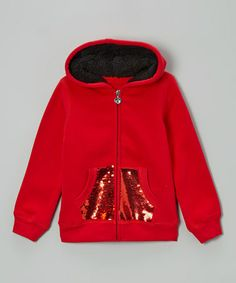 Take a look at this Red Sequin Sherpa Zip-Up Hoodie - Girls by Longstreet on #zulily today!