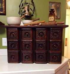 Antique apothecary up cycled storage HUGE multi drawer chest rustic singer sewing machine drawers