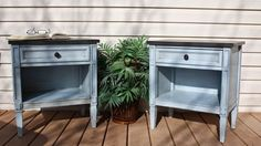 repainted drexel nightstands, chalk paint, how to, painted furniture