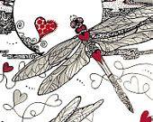Articles similaires à CŒUR de DRAGON dragonflys amour zentangle coeurs Valentines 5 x 7 giclee imprimer LE sur Etsy