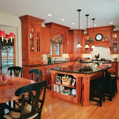 Ideas...    Love that! That island would be an awesome place for making cookies, breads, pizzas, & great to set out food for a buffet when entertaining. Nice! I don't think anyone with dogs should have wood floors though - waste of money. Their nails just tear up the wood.