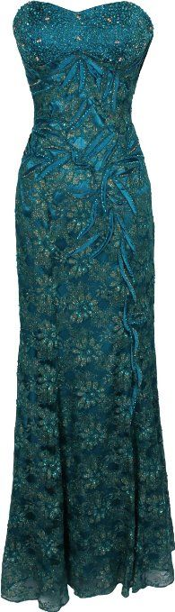 Amazon.com: Metallic Beaded Lace Overlay Formal Dress Prom Gown MOB Junior and Junior Plus Size: Clothing   with alterations to repurpose, I love the color