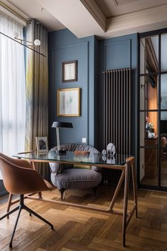 〚An interesting interior in a modern classic for a family without children in Moscow〛 ◾ Photo ◾ Ideas ◾ Design – House Design Office Interior Design, Home Office Decor, Office Interiors, Home Decor, Office Ideas, Modern Apartment Design, Color Interior, Interior Photo, Modern Interiors