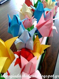 Ιδεες για δασκαλους: Πολύχρωμες τουλίπες από χαρτί! Origami Balloon, Hanging Origami, Origami Butterfly, Origami Flowers, Origami Lucky Star, Origami Stars, Origami Ornaments, Flower Ornaments, Origami Patterns