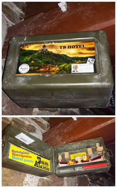 Cool Travel Bug hotel!  This hotel even has some residents sitting in a nice little scene, waiting for the cacher to open the case.  This would stand out from the usual open-the-container-and-there's-the-log-and-toys caches.  (pics from Instagram stitched together by I.B. Geocaching) #IBGCp