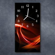 Nástěnné hodiny obrazové na skle - Abstrakt oranžovočervený Clock, Retro, Wall, Home Decor, Abstract, Watch, Decoration Home, Room Decor, Clocks
