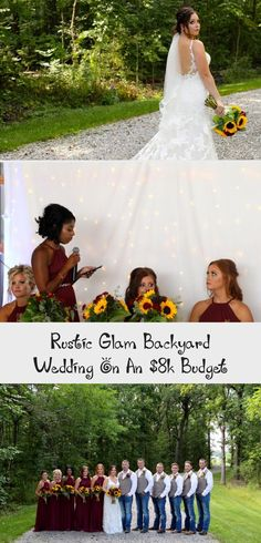 Rustic Glam Backyard Wedding | The Budget Savvy Bride | Wine bridesmaid dresses from David's Bridal | burgundy wedding | sunflower bridal bouquet #OrangeBridesmaidDresses #BridesmaidDressesStyles #RusticBridesmaidDresses #BridesmaidDressesCoral #WeddingBridesmaidDresses