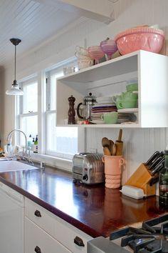 Open shelf/wood counter—