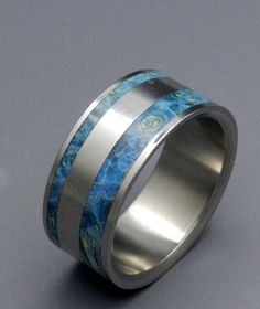 Ring | Minter & Richter Designs.  Titanium and Blue Box Elder wood
