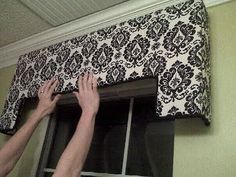 Instructions for building a cornice board- foam insulation board instead of plywood, and a hot glue gun instead of nails.