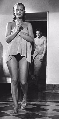 Romy Schneider and Alain Delon on the set of La Piscine (1969, Jacques Deray). By Philippe Le Tellier.