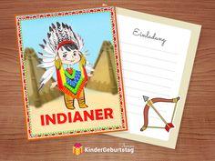 Kindergeburtstag. Indianer Einladungskarten Zur Kinderparty Ausdrucken