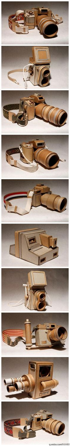 Paper cameras from the Kiel Johnson exhibit at the Taubman Museum of Art What a way to teach a child the art of photography Cardboard Camera, Paper Camera, Cardboard Sculpture, Cardboard Art, Diy Paper, Paper Crafts, Pinhole Camera, Paper Artwork, Paper Book