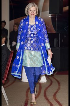 Theresa May wore a traditional Asian blue salwar at theAsian Business Awards in 2015.